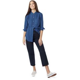 tentree Fernie EV2 LS Button Up Shirt Women Dark Denim Navy